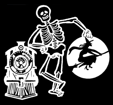 Skeleton, train & witch graphic